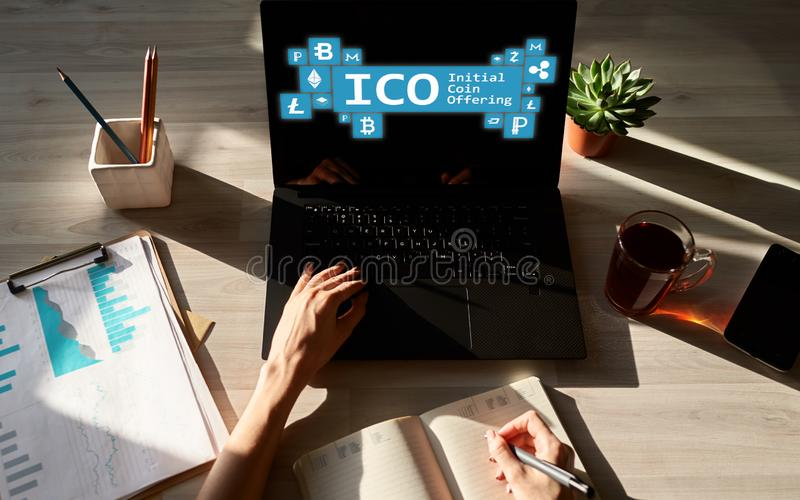 ICO - initial coin offering. Cryptocurrency, Blockchain. Fintech, modern financial technology concept. ICO - initial coin offering. Cryptocurrency, Blockchain royalty free stock image