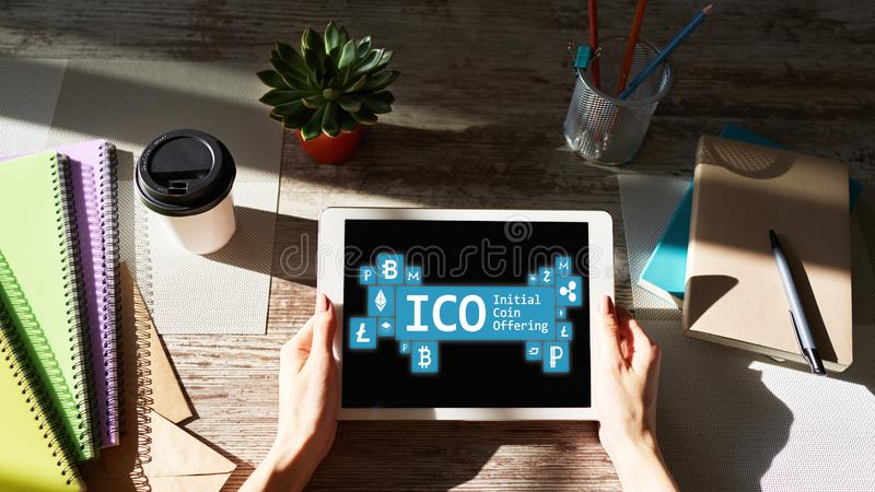 ICO - initial coin offering. Cryptocurrency, Blockchain. Fintech, modern financial technology concept. ICO - initial coin offering. Cryptocurrency, Blockchain stock image