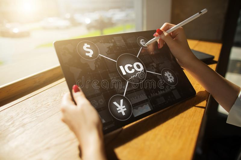 ICO, Initial Coin Offering. Digital electronic binary money financial concept. Bitcoin currency exchange. ICO, Initial Coin Offering. Digital electronic binary royalty free stock images