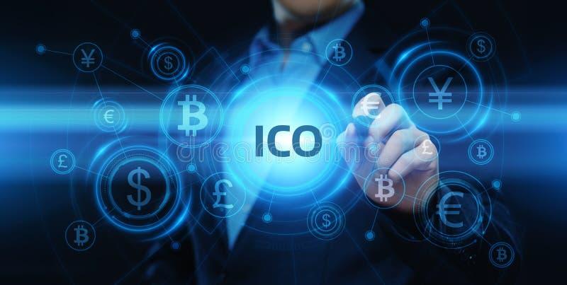 ICO-Initialen-Münzen-Angebotgeschäfts-Internet-Technologie-Konzept stock abbildung