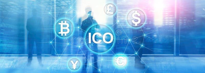 ICO - Initialt erbjuda för mynt, Blockchain och cryptocurrencybegrepp på suddig affärsbyggnadsbakgrund fotografering för bildbyråer