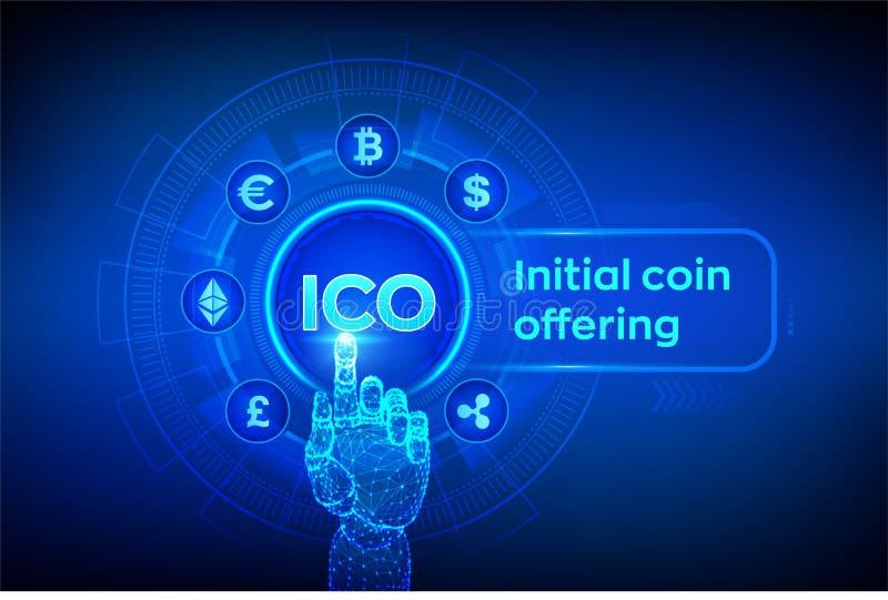 ico Initialt erbjuda f?r mynt Cryptocurrency och globalt e-kommers begrepp Fintech finansiellt handla begrepp p? den faktiska sk? royaltyfri illustrationer