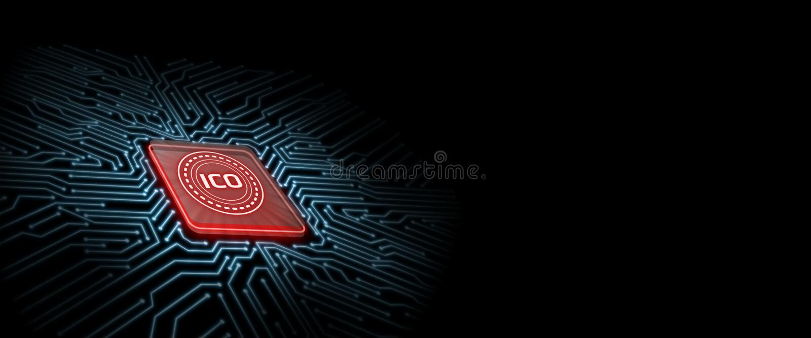 ICO led glow on red computer chip with circuit board background. stock illustration
