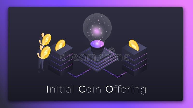 ico Moneda inicial que ofrece el ejemplo isométrico Gente que invierte el dinero en símbolos de lanzamiento de ICO stock de ilustración