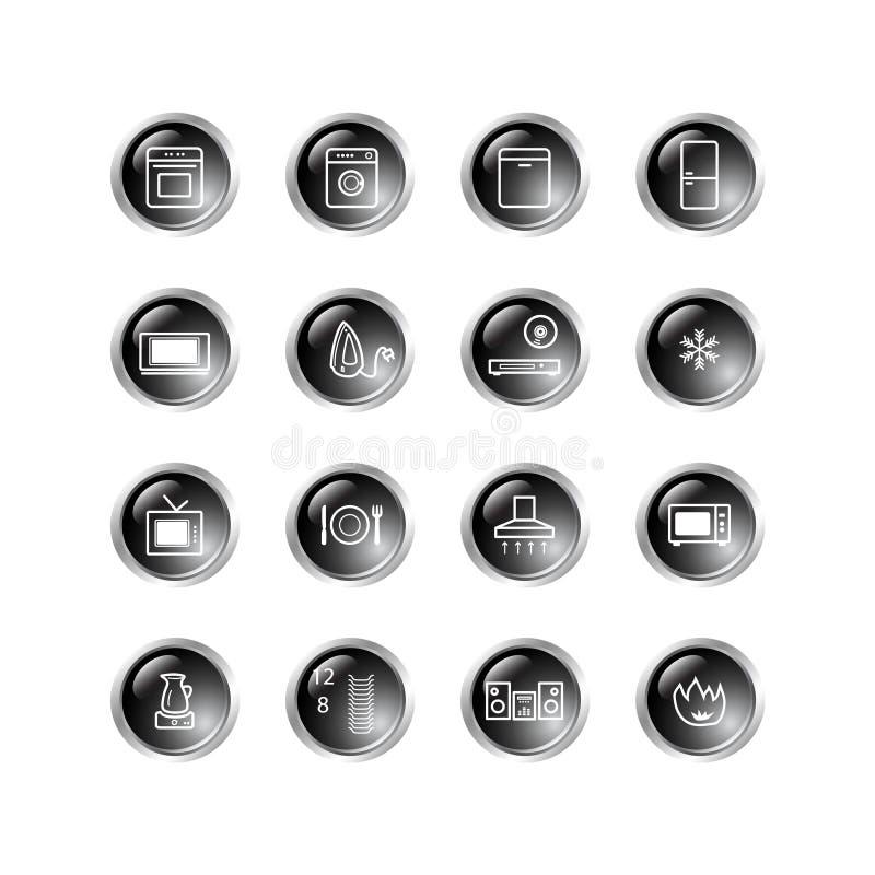 Ico negro de las mercancías de hogar de la gota stock de ilustración