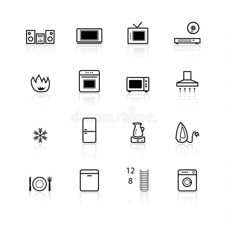 Ico negro de los aparatos electrodomésticos stock de ilustración