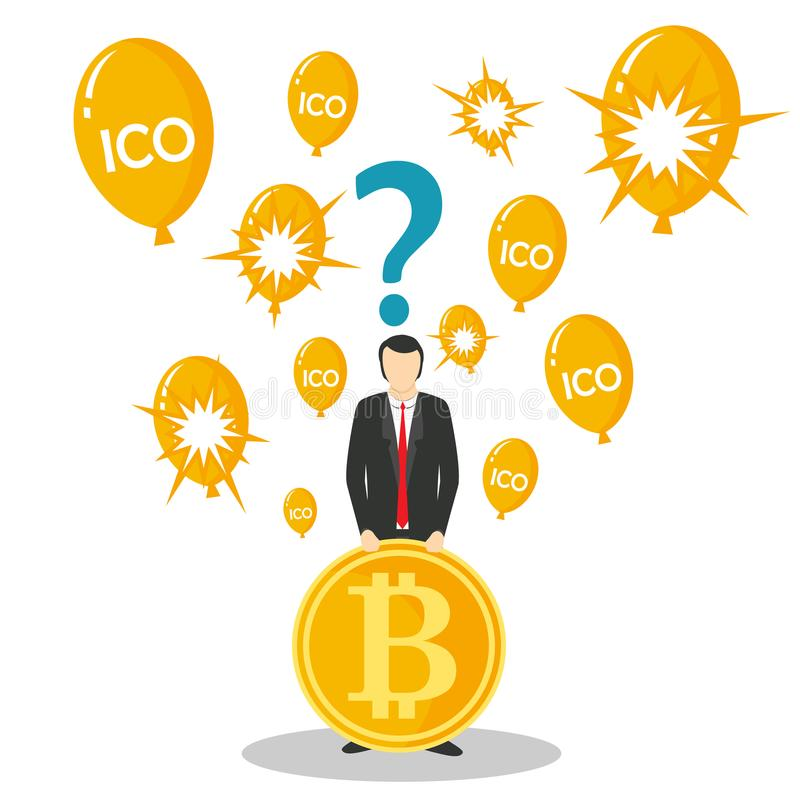 ICO o illustrazione d'offerta di vettore di concetto della moneta iniziale royalty illustrazione gratis