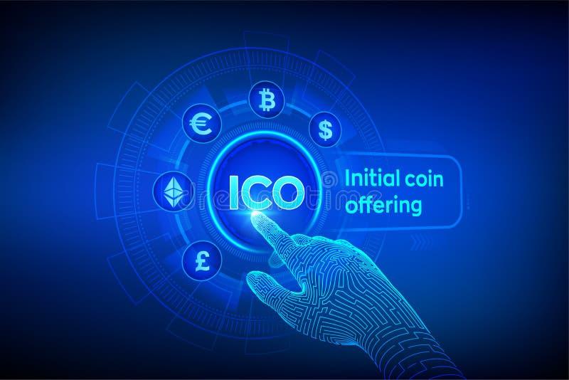 ico Oferecimento inicial da moeda Cryptocurrency e conceito global do com?rcio eletr?nico Fintech, conceito de troca financeiro n ilustração stock