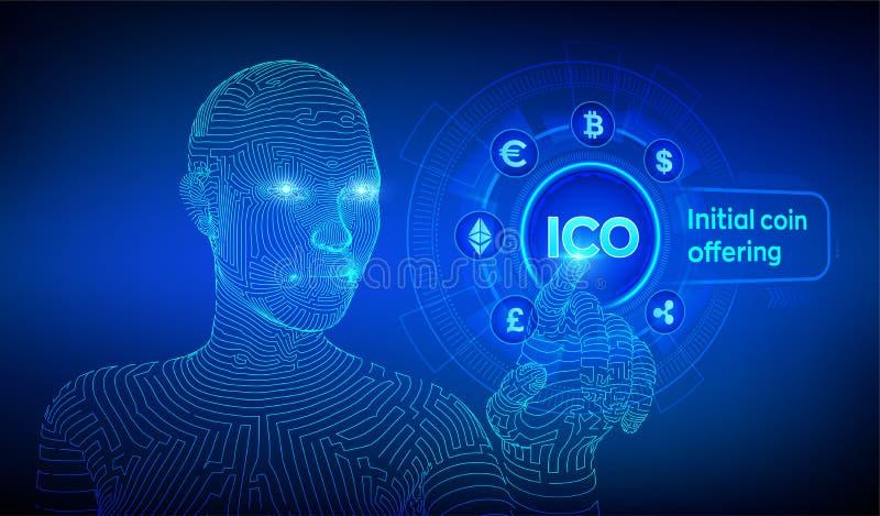 ico Oferecimento inicial da moeda Cryptocurrency e conceito global do com?rcio eletr?nico Fintech, conceito de troca financeiro n ilustração do vetor