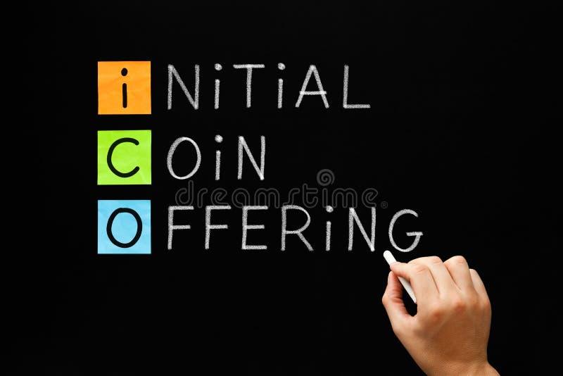 ICO - Ofrecimiento inicial de la moneda imagenes de archivo