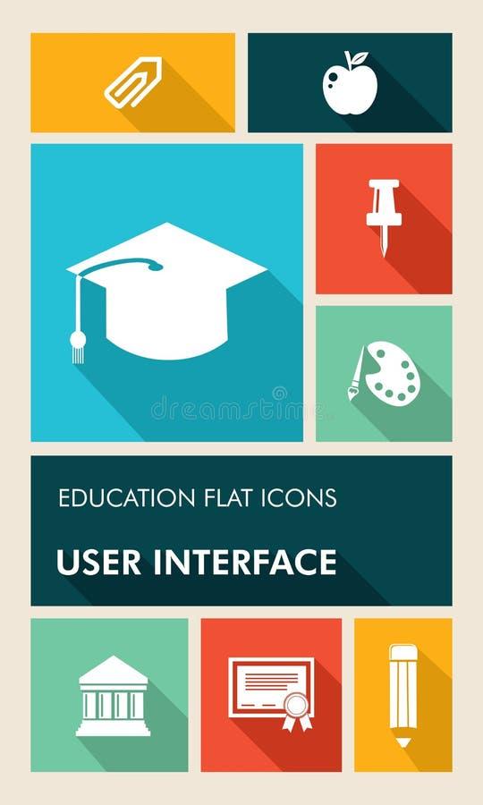 Ico plano de la educación UI de la interfaz de usuario colorida de los apps libre illustration