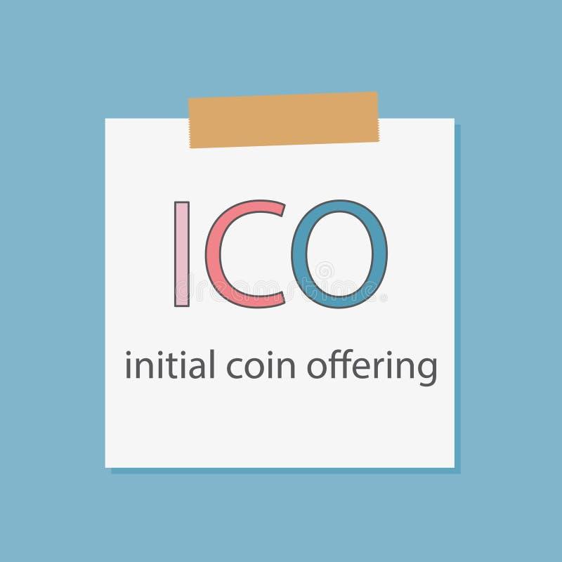 ICO siglano l'offerta della moneta scritta in una carta del taccuino royalty illustrazione gratis