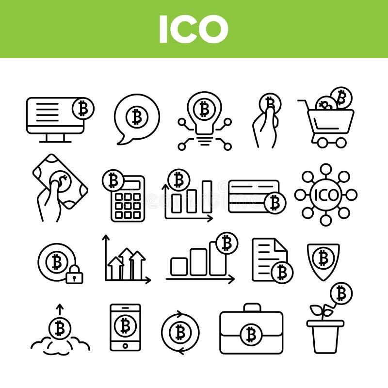 ICO, Vector Dunne Geplaatste de Lijnpictogrammen van Bitcoin royalty-vrije illustratie