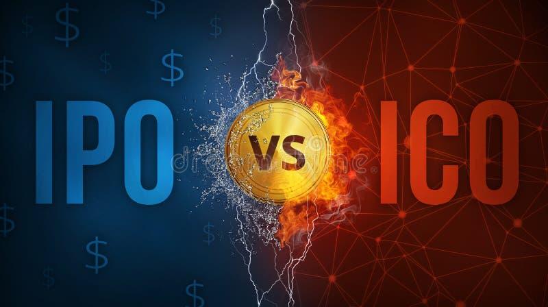 ICO vs IPO technologii futurystyczny sztandar royalty ilustracja
