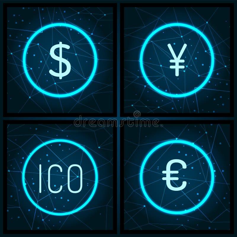 Ico y euro y Yen Currency Set Vector del dólar stock de ilustración
