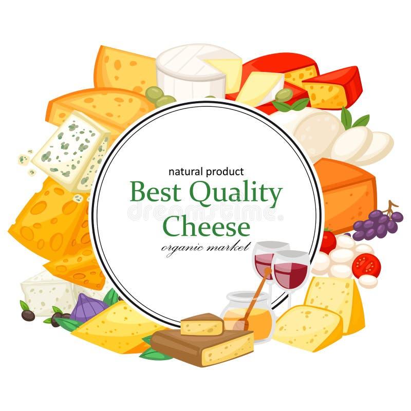 Icomposition realista de los mejores quesos especiales de la calidad con el parmesano y el dorblu, Gouda, brie, mozzarella del ma ilustración del vector