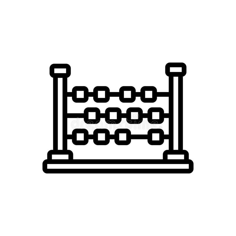 Black line icon for Abacus, ancient and arithmetic vector illustration