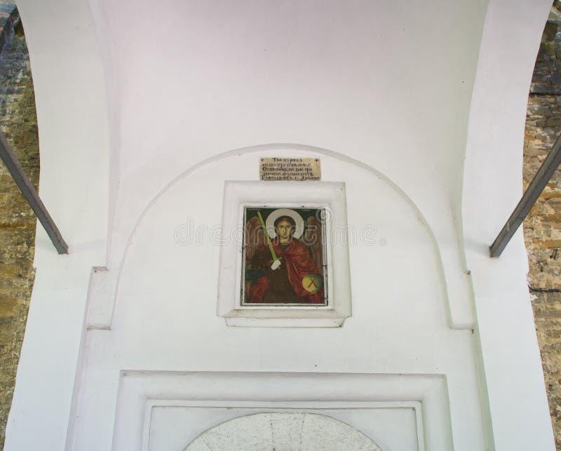 Icon above the entrance to the temple of the monastery of Dryanovo, Bulgaria stock photos