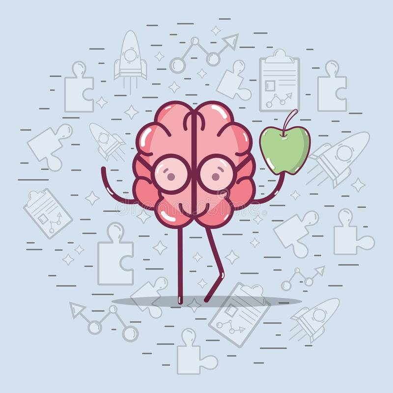 Icon adorable kawaii brain eating apple stock illustration