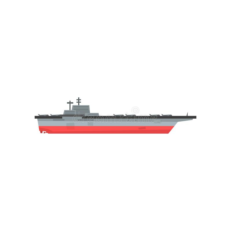Icon of aircraft carrier with airplanes. Waterborne military vessels. Naval aviation. Flat vector element for website stock illustration