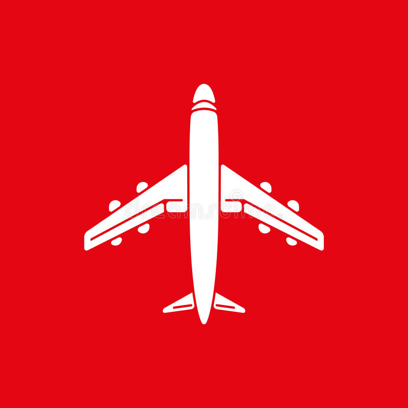 Icon of airplane, plane on red background vector illustration. Airport icon, airplane shape. Flat airplane. White airplane icon. Vector design element for logo stock illustration
