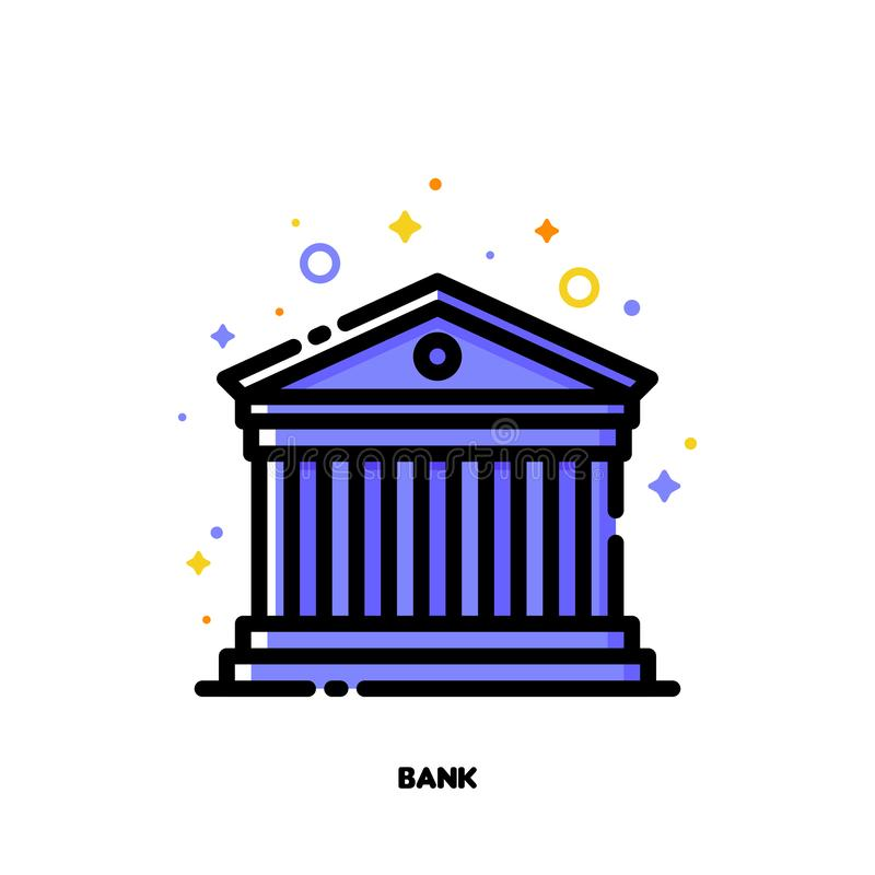 Icon of ancient roman building for bank concept. Flat filled outline style. Pixel perfect 64x64. Editable stroke. Cute icon of ancient roman building for bank stock illustration