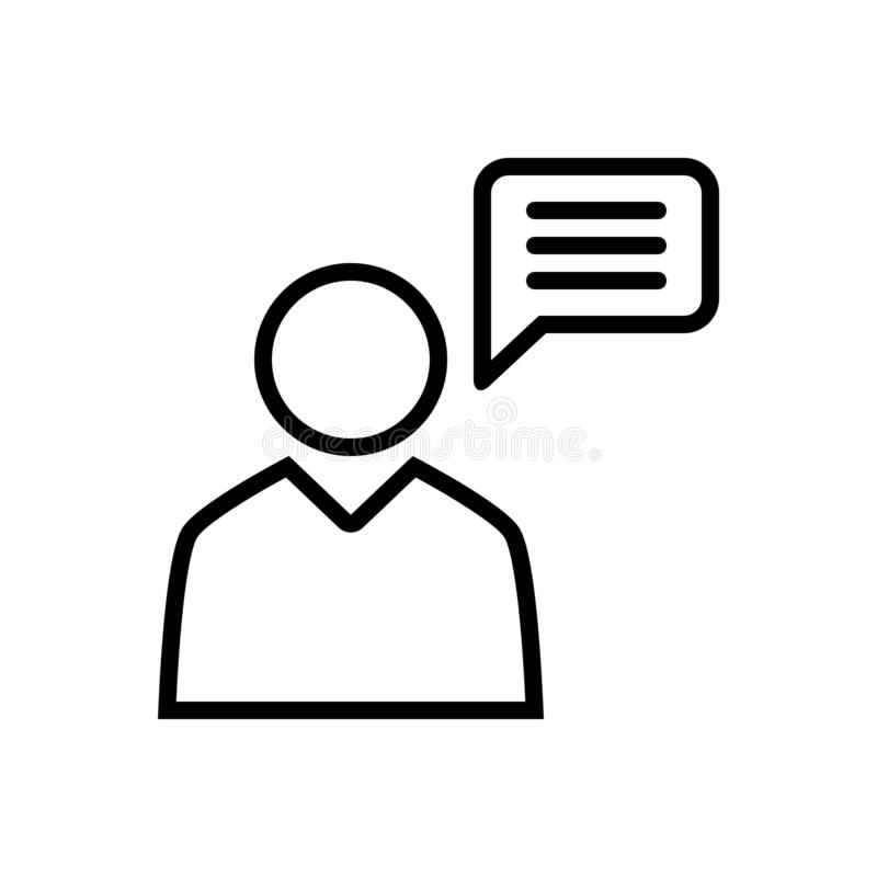 Black line icon for Announcements, press and conference. Black line icon for Icon for announcements, opinion, logo, press and conference stock illustration