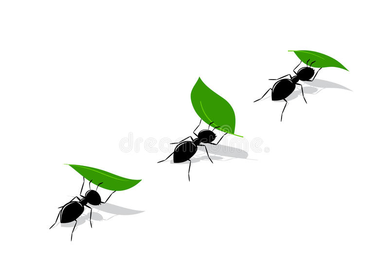 Icon ant. A silhouette of black ants with green leaves vector illustration