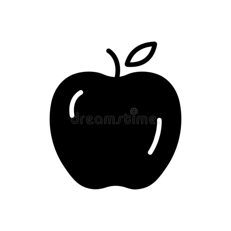 Black solid icon for Apple, fruit and healthy royalty free illustration
