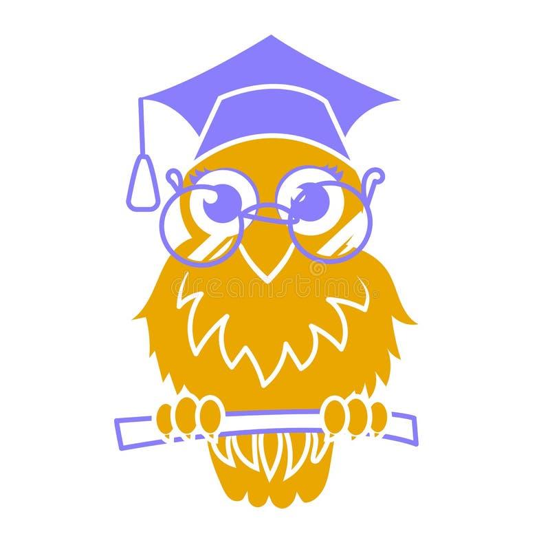 Icon back to school owl stock illustration