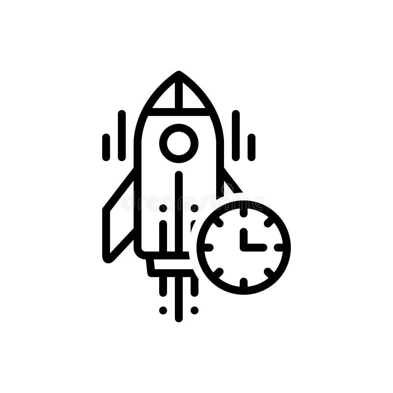 Black line icon for Begun, begin and start stock illustration