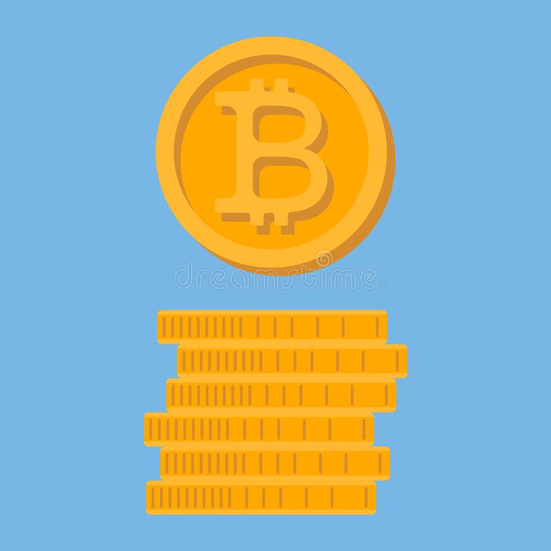 Icon Bitcoin. A stack of coins. Crypto currency. stock illustration