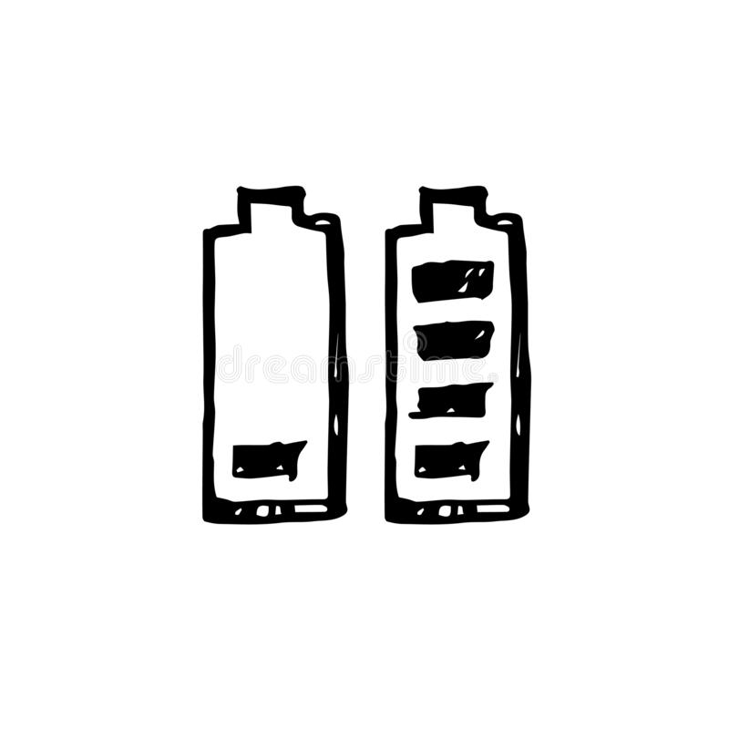 Icon black Hand drawn Simple outline Battery symbol. vector Illustrator. on white background royalty free illustration