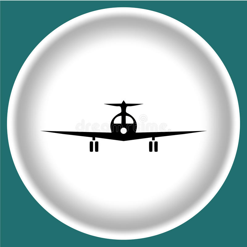 Icon black plane on white plate blue grey background. Vector stock illustration