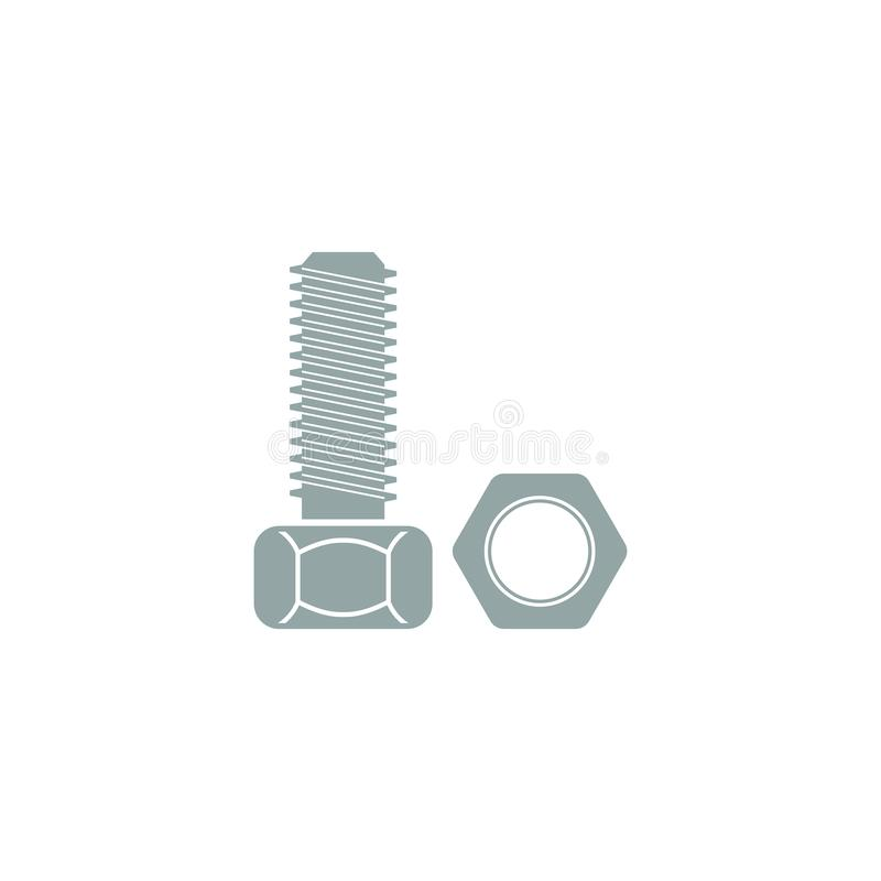 Icon of bolt and nut. Flat design. Vector illustration stock illustration