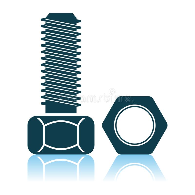 Icon Of Bolt And Nut. Shadow Reflection Design. Vector Illustration stock illustration