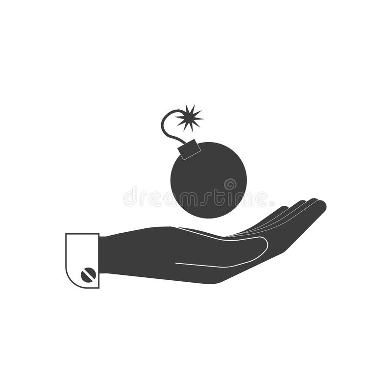 Icon, a bomb with a burning wick on the human palm in black. vector illustration