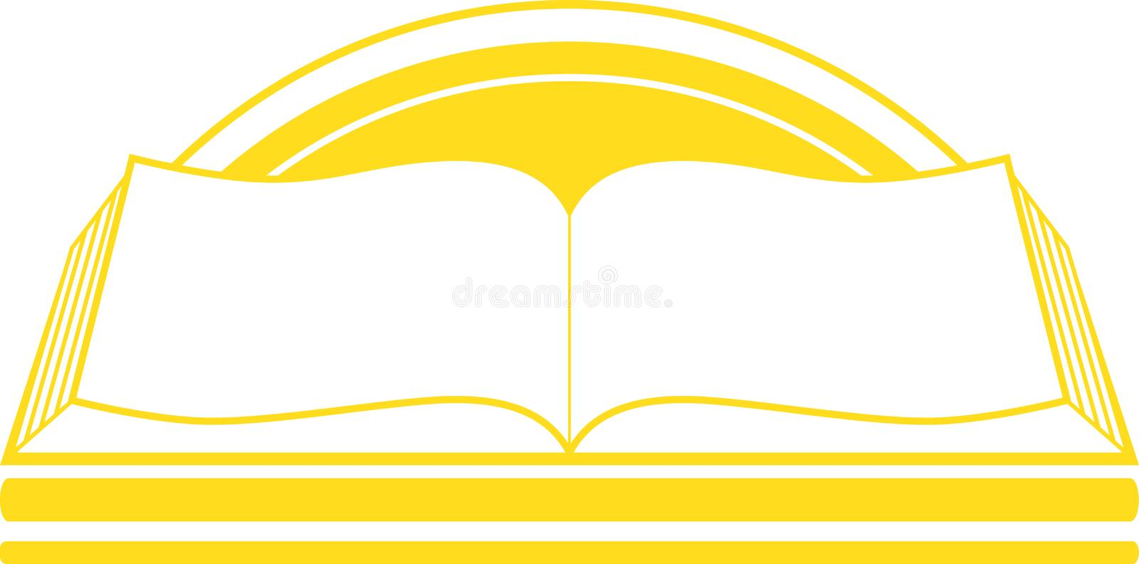 Icon with book and sunrise vector illustration