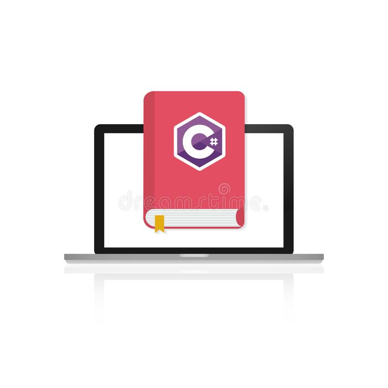 Icon of books about programming on laptop screen. A book on the C programming language. vector illustration