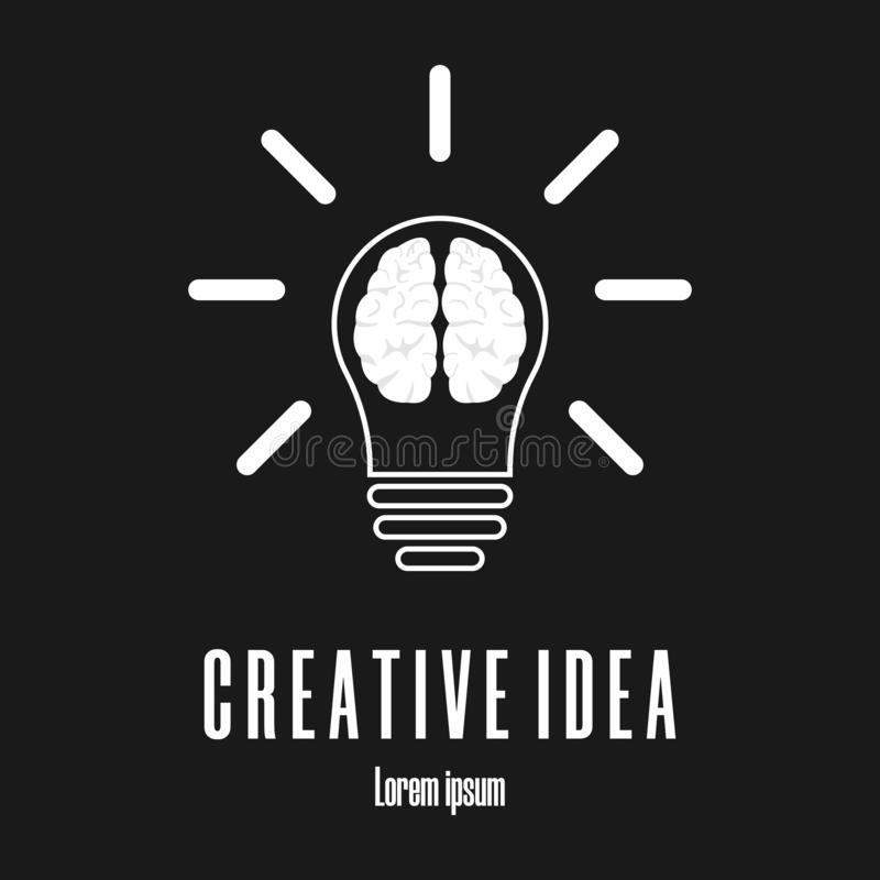 Icon of brain in lightbulb. Creative idea logo template. Clean and modern vector illustration. stock illustration