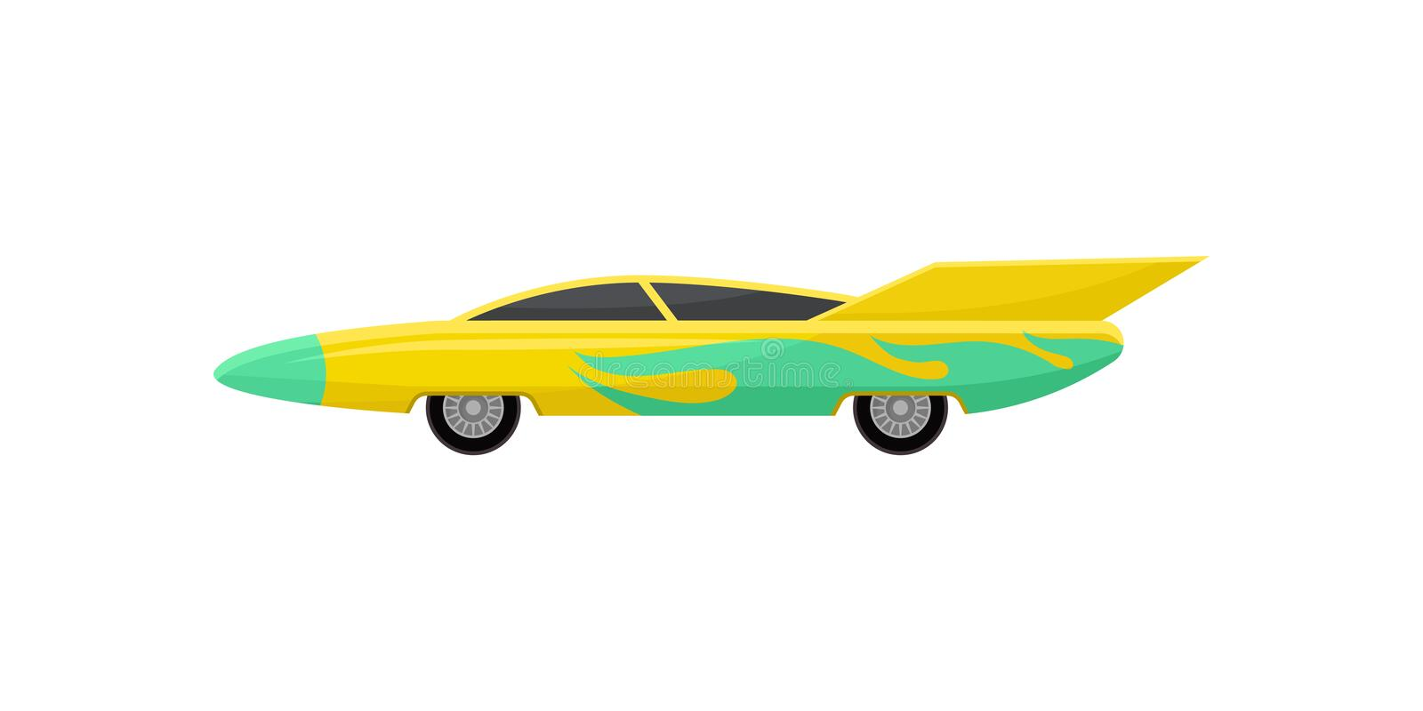 Flat vector icon of bright yellow racing car with green wrap decal, side view. Fast sports vehicle with tinted windows stock illustration