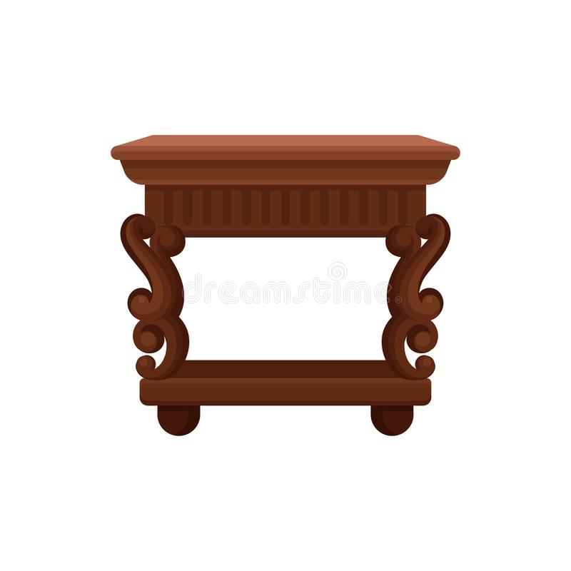 Flat vector icon of brown vintage bedside table. Small wooden nightstand. Antique furniture for bedroom or living room stock illustration