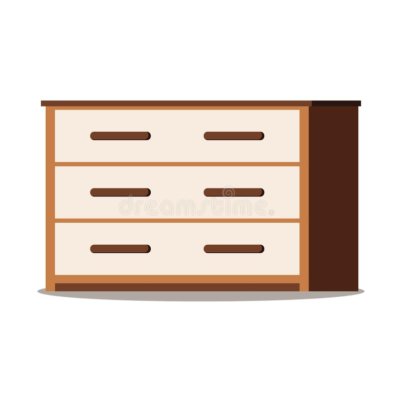 Icon of brown wooden chest of drawers with doors, shelf royalty free illustration