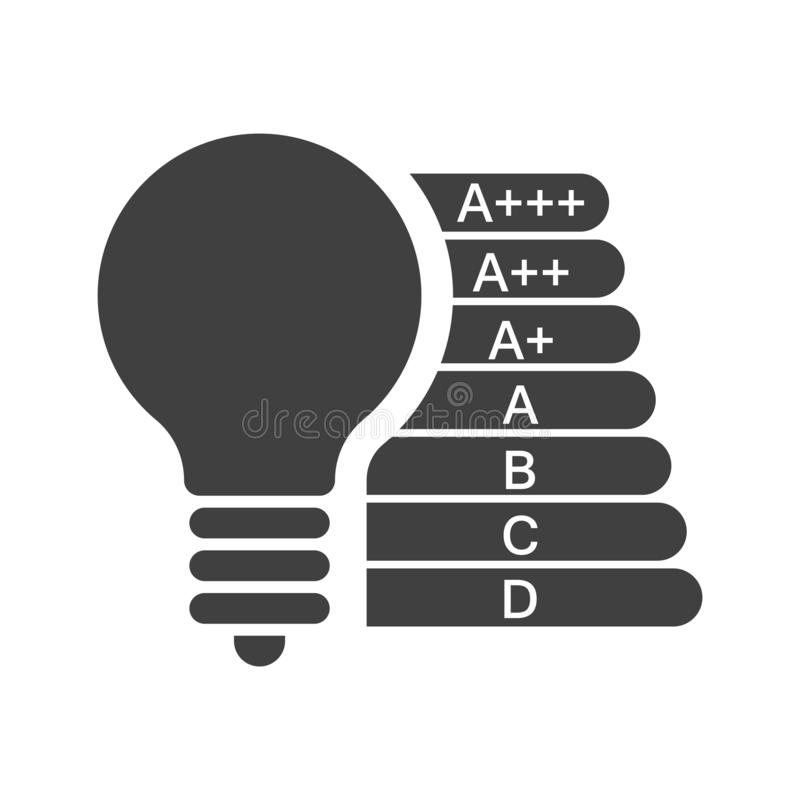 Icon bulbs with different coefficients of energy consumption. Vector on a white background. Icon bulbs with different coefficients of energy consumption. Vector stock illustration