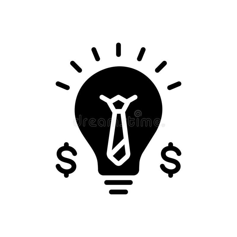 Black solid icon for Business Idea, merchandise and solution. Black solid icon for Business Idea, conceptual, strategy, concepts, currency,  merchandise and royalty free illustration