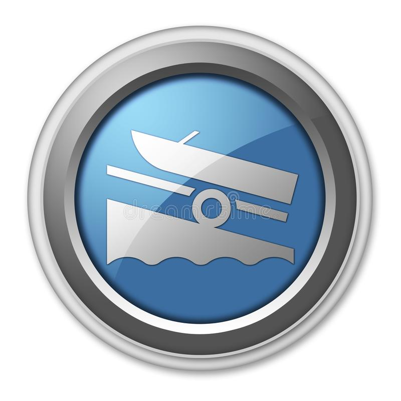 Icon, Button, Pictogram Boat Ramp. Icon, Button, Pictogram with Boat Ramp symbol stock illustration