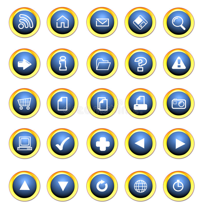 Icon buttons for the web. White background with white graphics stock illustration