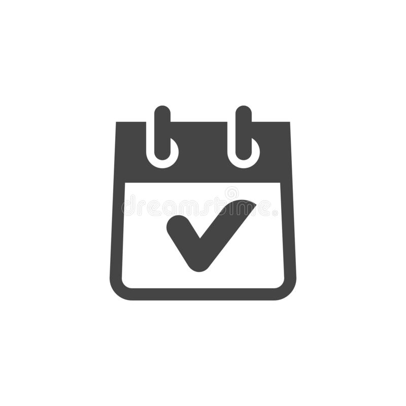 Icon of Calendar with Check Mark in Glyph Style. Completed Task, Finish of Event, Time to Deadline, Plans Done Emblem. Icon of Calendar with Check Mark in Glyph royalty free illustration
