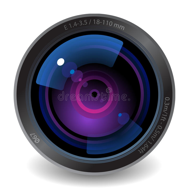 Icon for camera lens. White background. Vector saved as eps-10, file contains objects with transparency
