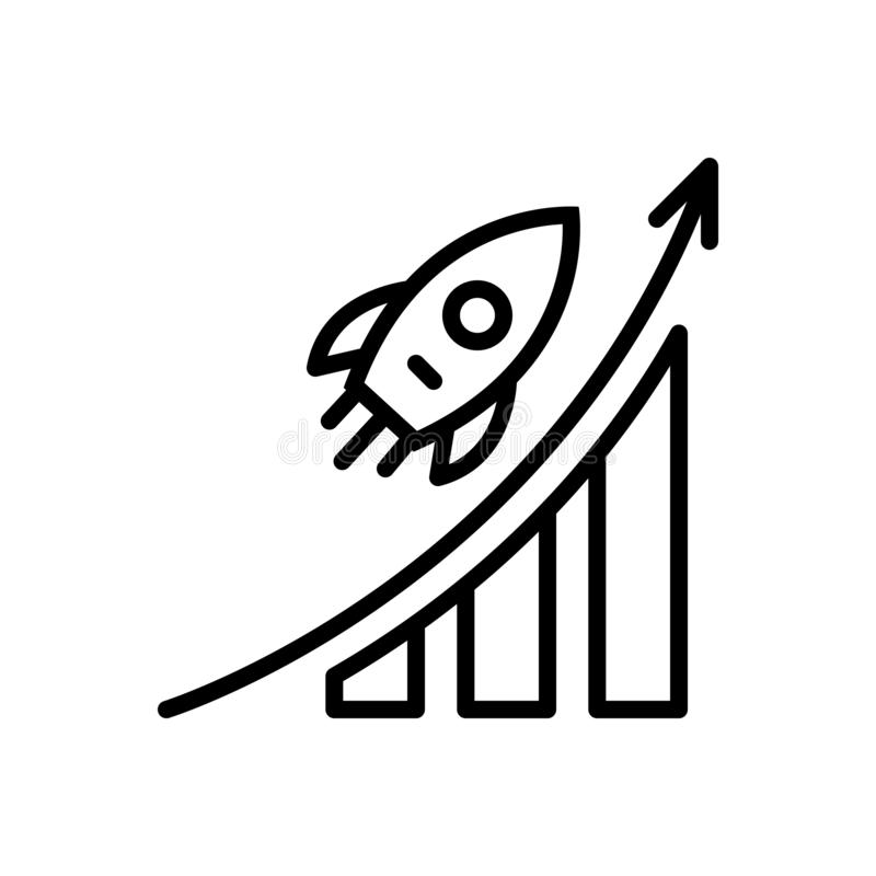 Black line icon for Career Advancement, career and promotion. Black line icon for Career Advancement, analysis, successful, opportunity,  career and promotion vector illustration